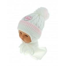 Czapeczka zimowa niemowlęca 42-46 biała z jasnyo różowym